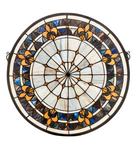 "21""W X 21""H Fleur-de-lis Medallion Stained Glass Window"