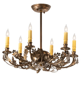 "19""W Oak Leaf & Acorn 6 Lt Lodge Chandelier"