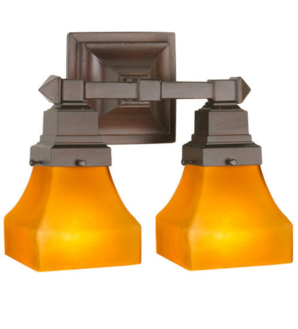 "13""W Bungalow Frosted Amber Mission 2 Lt Wall Sconce"