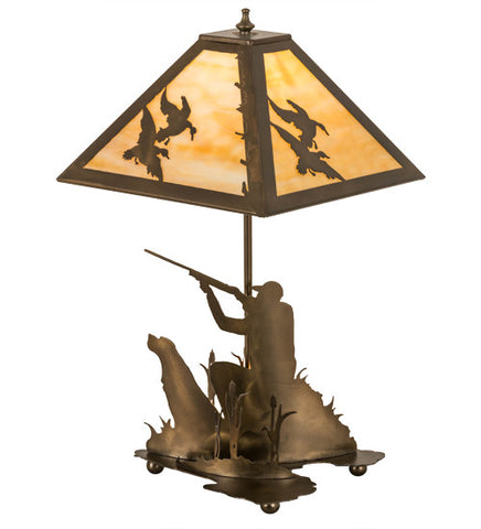 "21""H Duck Hunter W/Dog Rustic Lodge Table Lamp"
