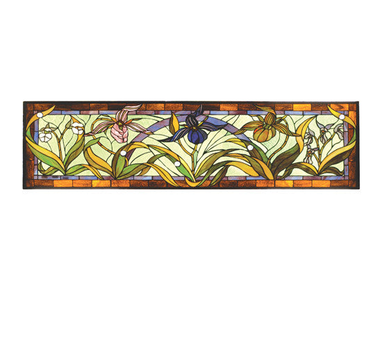 60 Quot W X 14 Quot H Lady Slippers Stained Glass Transom Window