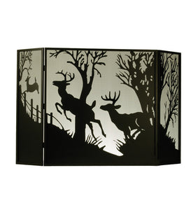 "62""W X 40""H Deer On The Loose Folding Metal Fireplace Screen"