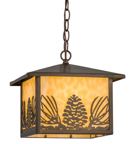 "11""Sq Mountain Pine Lantern Rustic Lodge Pendant"
