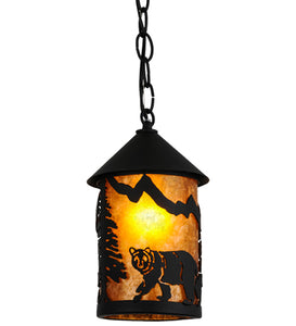 "6""W Northwoods Lone Bear Wildlife Mini Pendant"