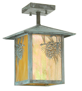 "9""Sq Seneca Winter Pine Outdoor Pendant"