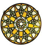 "20""W X 20""H Knotwork Trance Medallion Stained Glass Window"