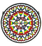 "20""W X 20""H Rainbow Expression Medallion Stained Glass Window"