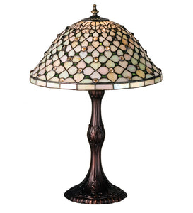 "20""H Diamond & Jewel Stained Glass Table Lamp"