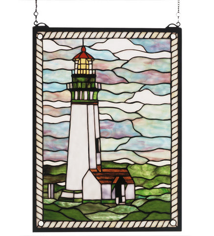 "15""W X 20""H Yaquina Head Lighthouse Stained Glass Window"