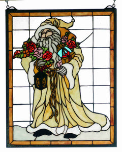 "16""W x  20""H Father Christmas Stained Glass Window"
