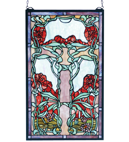 "15""W X 25""H Nouveau Lily Stained Glass Window"