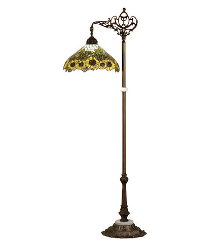 "61""H Tiffany Wild Sunflower Bridge Arm Floor Lamp"