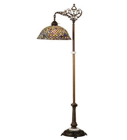 "60""H Tiffany Fishscale Bridge Arm Floor Lamp"