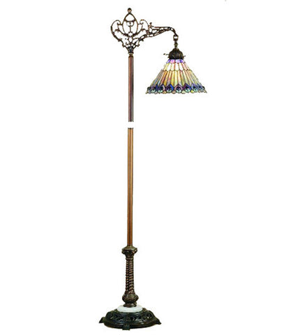 "60""H Tiffany Jeweled Peacock Bridge Arm Floor Lamp"