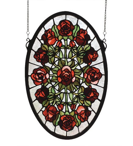 "11""W X 17""H Oval Rose Garden Floral Stained Glass Window"