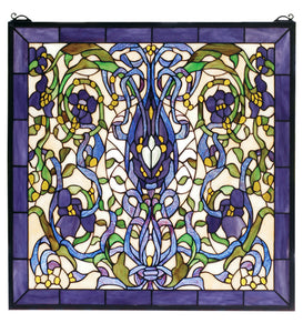 "22""W X 22""H Floral Fantasy Stained Glass Window"