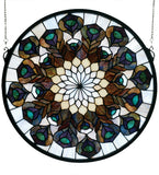 "17""W X 17""H Tiffany Peacock Feather Medallion Stained Glass Window"