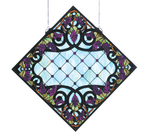"25.5""W X 25.5""H Jeweled Grape Stained Glass Window-"