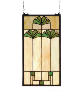 "11""W X 20""H Ginkgo Arts & Crafts Stained Glass Window"