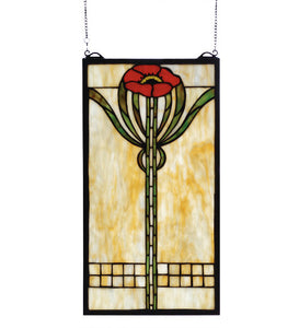 "11""W X 20""H Parker Poppy Floral Stained Glass Window"