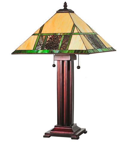 "24""H Pinecone Stained Glass Table Lamp"