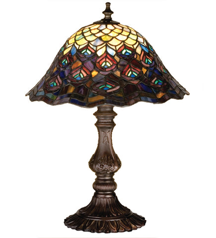 "16.5""H Tiffany Peacock Feather Table Lamp"