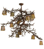 "48""W Pine Branch Valley View 12 Lt Lodge Chandelier"