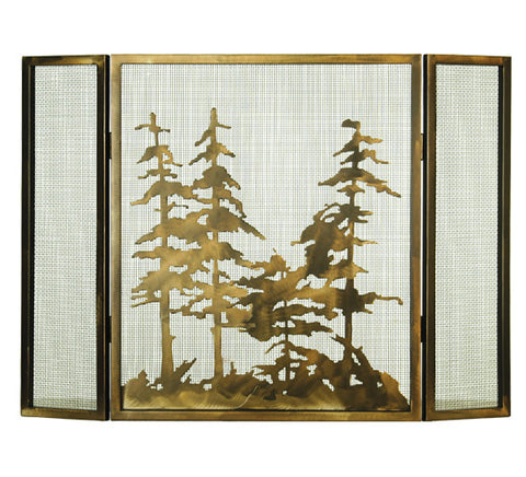 "36""W X 26""H Tall Pines Folding Metal Fireplace Screen"