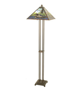 "63""H Loon Wildlife Stained Glass Floor Lamp"