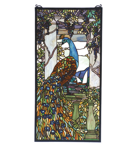 "15""W X 30""H Tiffany Peacock Wisteria Stained Glass Window"