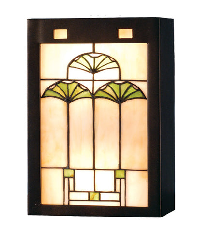 "7.5""W Ginkgo Stained Glass Wall Sconce"