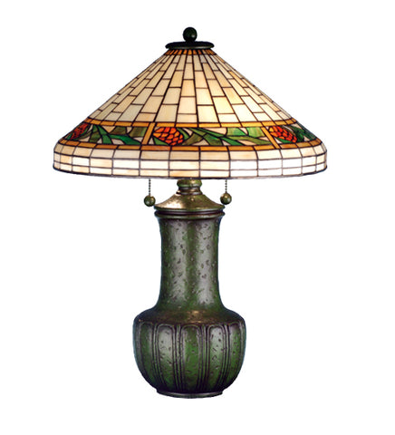 "25""H Bungalow Pinecone Stained Glass Table Lamp"