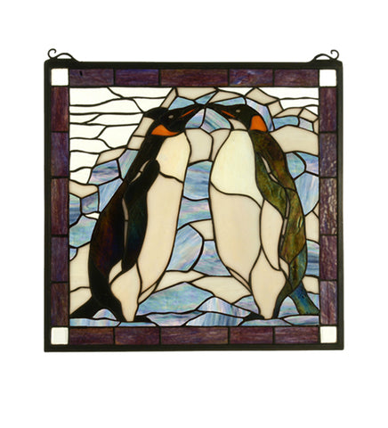 "19""W X 19.5""H Penguin Stained Glass Window"