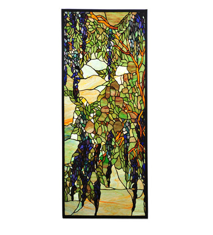 "15.25""W X 36.25""H Wisteria & Snowball Stained Glass Window"