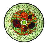 "24""W X 24""H Tiffany Rosebush Round Stained Glass Window"