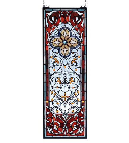 "11""W X 32""H Versaille Quatrefoil Sidelight Stained Glass Window"