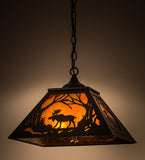 "16""Sq Rustic Lodge Moose Wildlife Pendant"