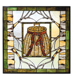 "24.5""W X 24.5""H Pack Basket Stained Glass Window"