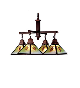"30""W Northwoods Pinecone 4 Lt Hand Painted Chandelier"