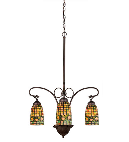 "20.5""W Tiffany Acorn 3 Lt Rustic Lodge Chandelier"