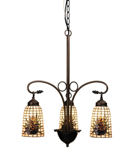 "20.5""W Pine Barons 3 Lt Lodge Stained Glass Chandelier"