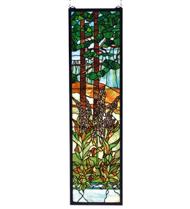 "12""W X 44""H Tiffany Foxgloves Floral Sidelight Stained Glass Window"