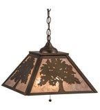 "16""Sq Oak Tree Ceiling Pendant"