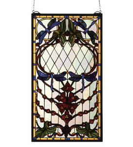 "14""W X 25""H Dragonfly Allure Stained Glass Window"