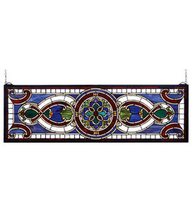 "35""W X 11""H Evelyn Transom Victorian Stained Glass Window"