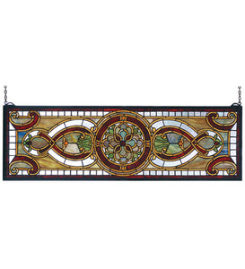 "35""W X 11""H Evelyn In Topaz Transom Stained Glass Window"