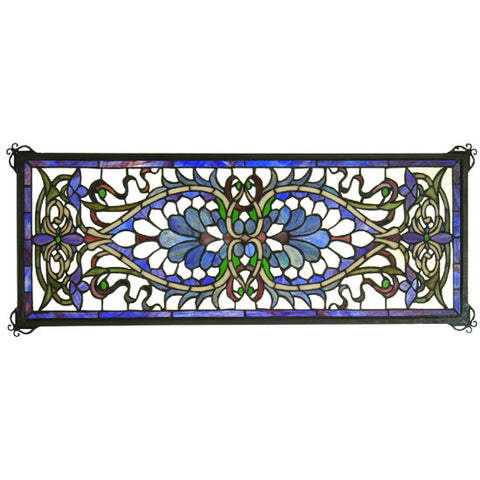 "29""W X 11""H Antoinette Transom Stained Glass Window"