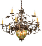 "39""W Greenbriar Oak 9 Arm Tiffany Lodge Chandelier"