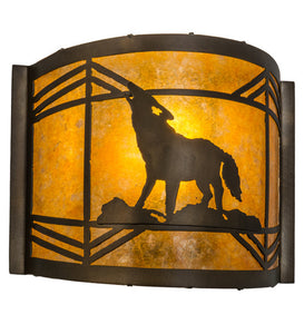 "12""W Northwoods Wolf Wildlife Wall Sconce"