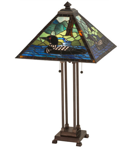 "30""H Loon Tiffany Wildlife Table Lamp"